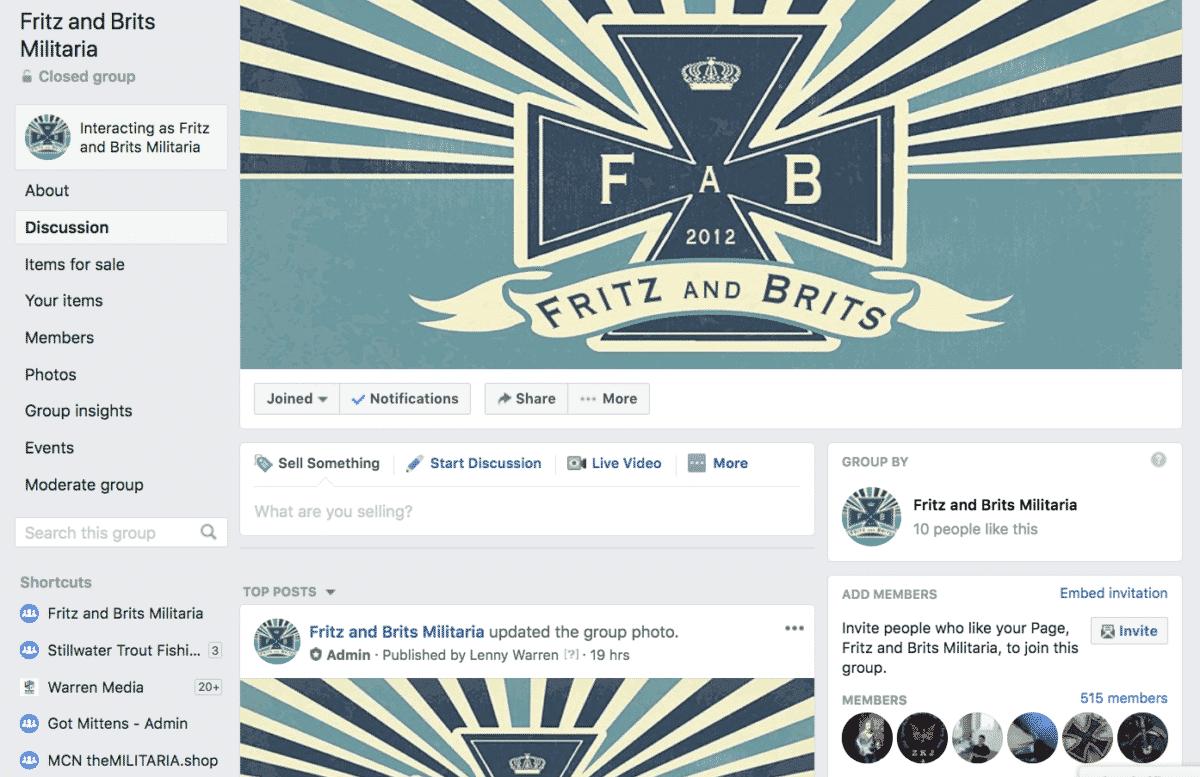 Fritz and Brits Militaria Facebook